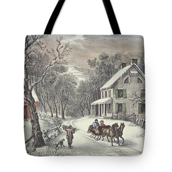 American Homestead   Winter Tote Bag