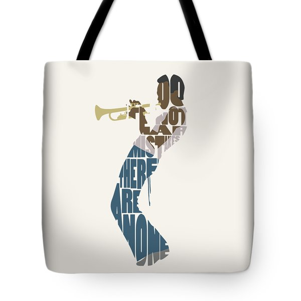 Tote Bag featuring the digital art Miles Davis Typography Art by Inspirowl Design