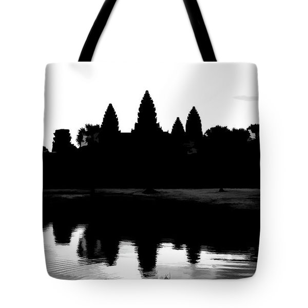 Angkor Wat Black  Tote Bag