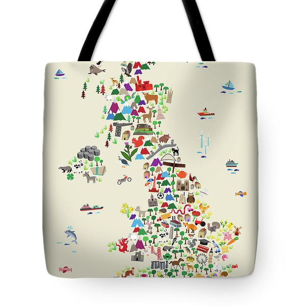 Animal Map Of Great Britain For Children And Kids Tote Bag