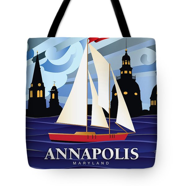 Annapolis Skyline Red Sail Boat Tote Bag