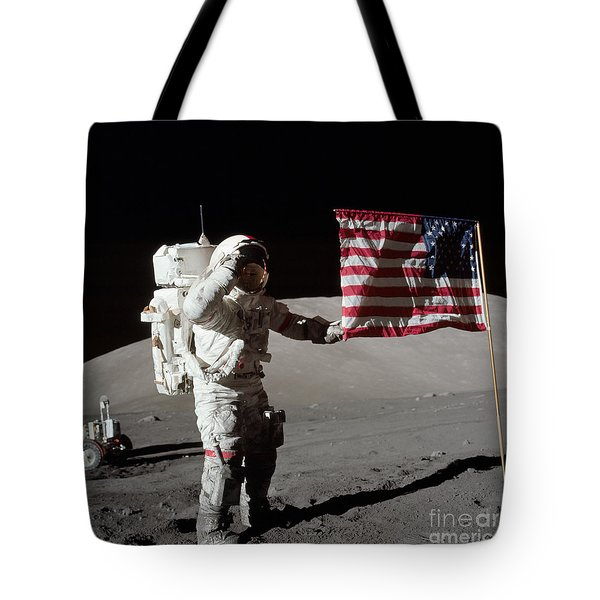 Apollo 17 Astronaut Salutes The United Tote Bag by Stocktrek Images