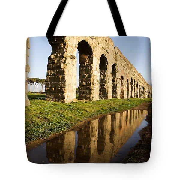 Aqua Claudia Aqueduct Tote Bag by Fabrizio Troiani