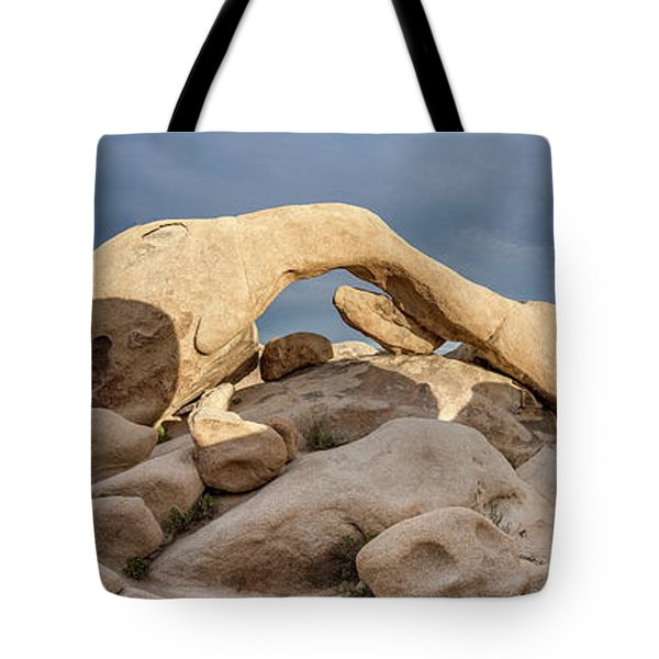 Arch Rock Panorama In Joshua Tree Tote Bag
