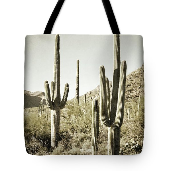 Tote Bag featuring the photograph Arizona Cactus Pair Desert by Andrea Hazel Ihlefeld