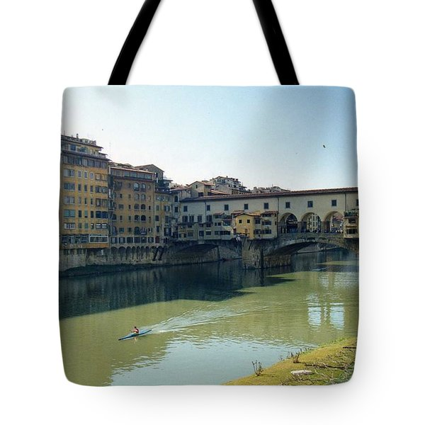 Arno River In Florence Italy Tote Bag by Marna Edwards Flavell