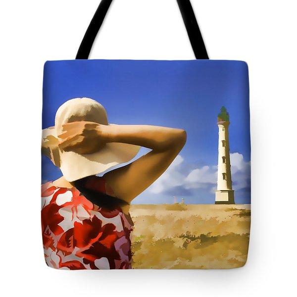 Aruba Lighthouse Tote Bag by Dennis Cox WorldViews