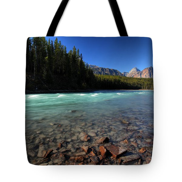 Athabasca River In Jasper National Park Tote Bag by Mark Duffy