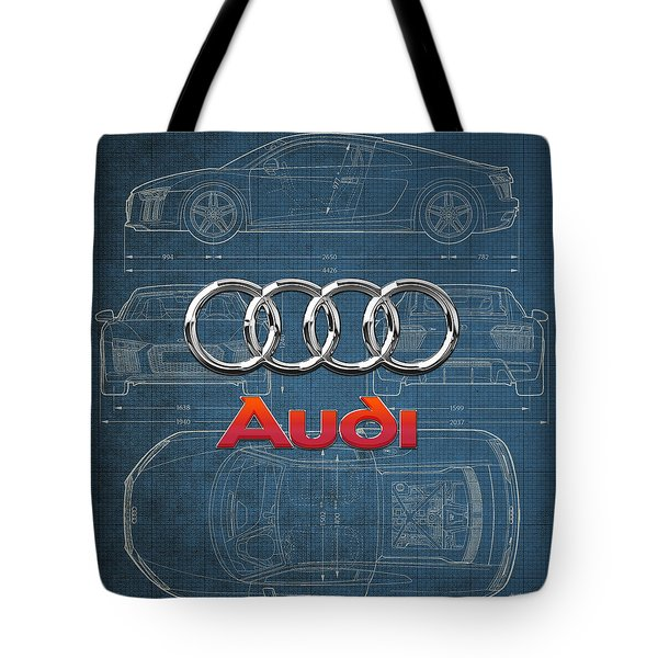 Audi 3 D Badge Over 2016 Audi R 8 Blueprint Tote Bag