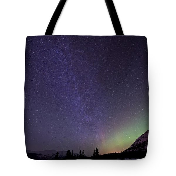 Aurora Borealis And Milky Way Tote Bag by Jonathan Tucker
