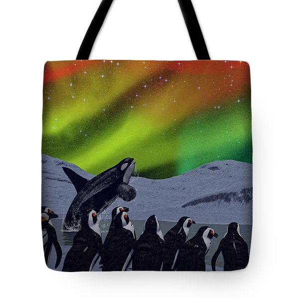 Tote Bag featuring the digital art Aurora Borealis by Methune Hively