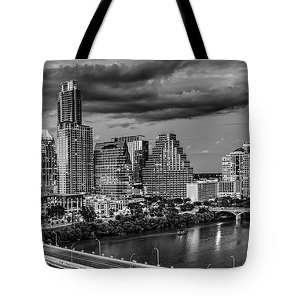 Austin Skyline Black And White Tote Bag