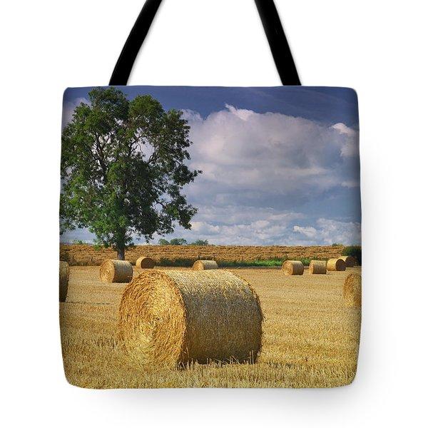 Autumn Hay Bales Tote Bag
