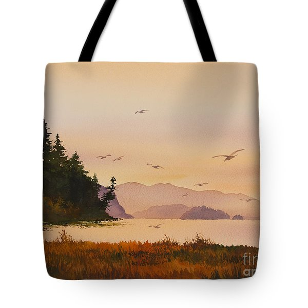 Tote Bag featuring the painting Autumn Shore by James Williamson