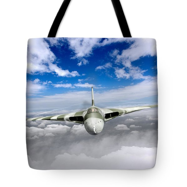 Tote Bag featuring the digital art Avro Vulcan Head On Above Clouds by Gary Eason