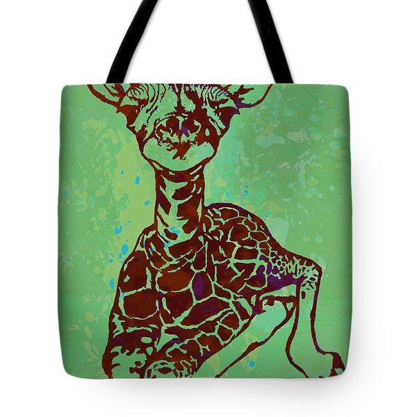 Baby Giraffe - Pop Modern Etching Art Poster Tote Bag