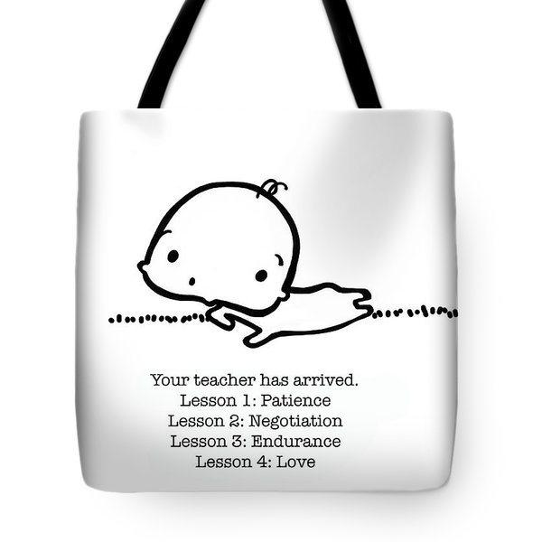 Tote Bag featuring the drawing Baby Teacher by Leanne Wilkes