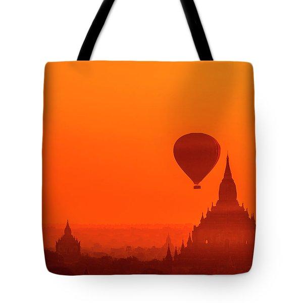 Tote Bag featuring the photograph Bagan Pagodas And Hot Air Balloon by Pradeep Raja Prints