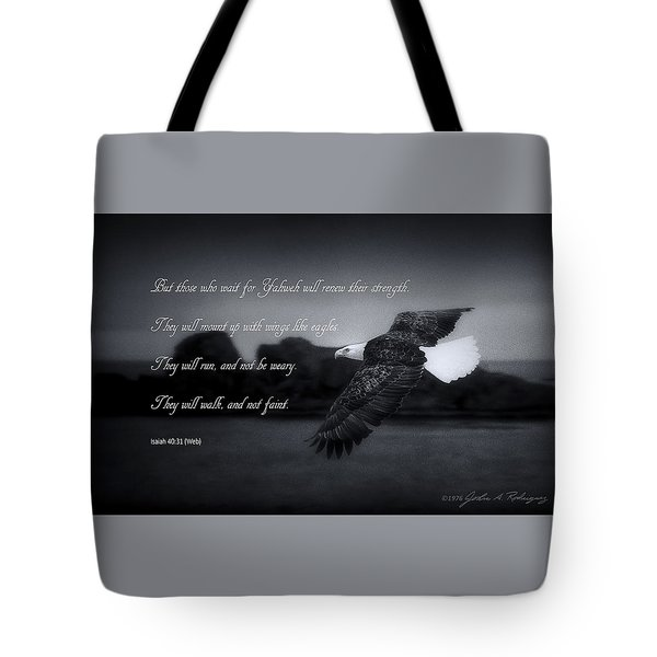 Tote Bag featuring the photograph Bald Eagle In Flight With Bible Verse by John A Rodriguez