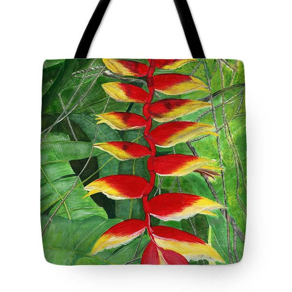 Tote Bag featuring the painting Balinese Heliconia Rostrata by Melly Terpening