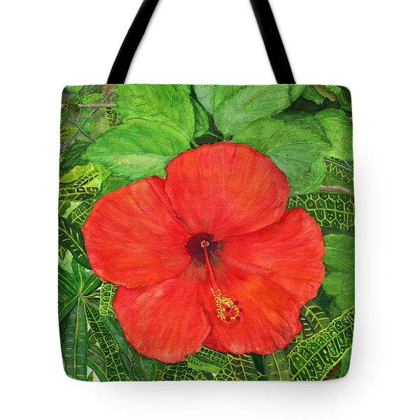 Tote Bag featuring the painting Balinese Hibiscus Rosa by Melly Terpening