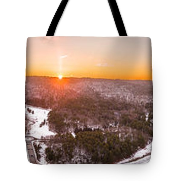 Barkhamsted Reservoir And Saville Dam In Connecticut, Sunrise Panorama Tote Bag by Petr Hejl