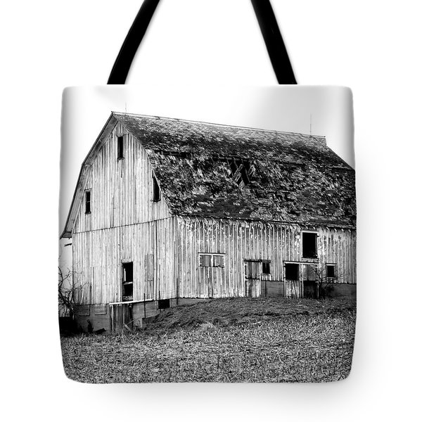 Barn On The Hill Bw Tote Bag by Julie Hamilton
