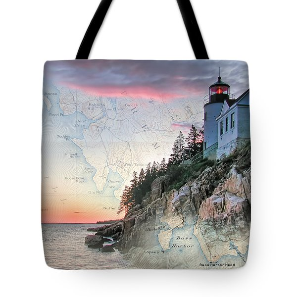 Bass Harbor Lighthouse On A Chart Tote Bag by Jeff Folger