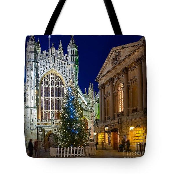 Bath Abbey At Night At Christmas Tote Bag