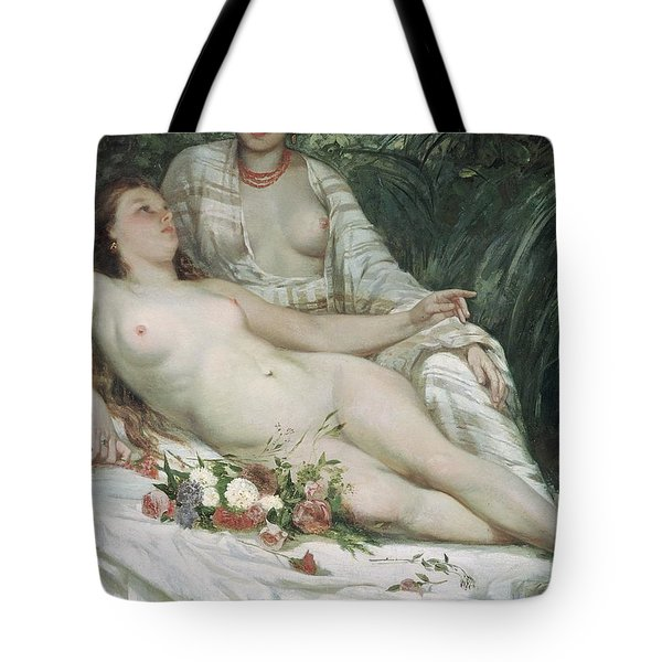 Bathers Or Two Nude Women Tote Bag by Gustave Courbet