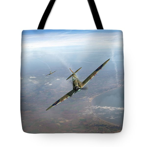 Tote Bag featuring the photograph Battle Of Britain Spitfires Over Kent by Gary Eason