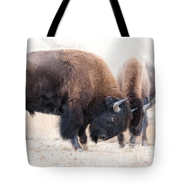 Tote Bag featuring the photograph Battle Of The Bison In Rut by Yeates Photography