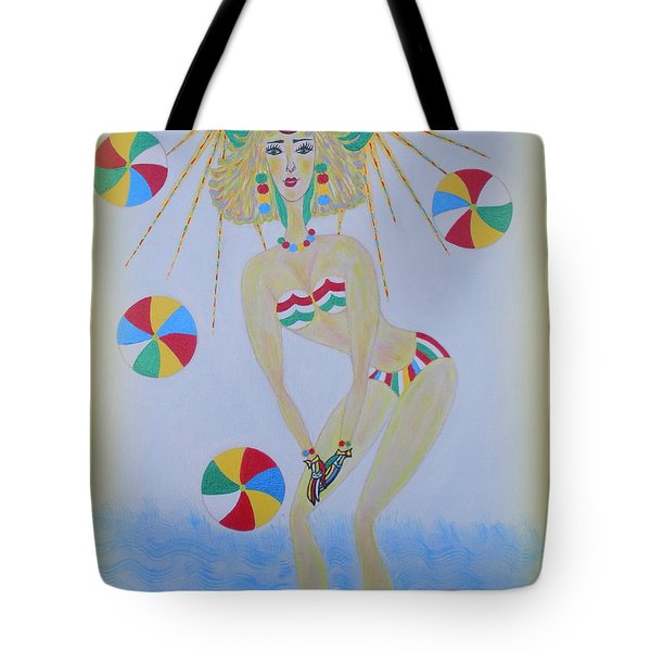 Tote Bag featuring the painting Beach Ball Surfer by Marie Schwarzer