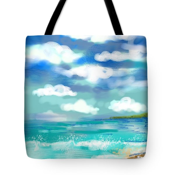 Tote Bag featuring the digital art Beach Birds by Elaine Lanoue
