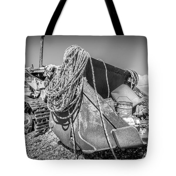Tote Bag featuring the photograph Beach Bulldozer. by Gary Gillette
