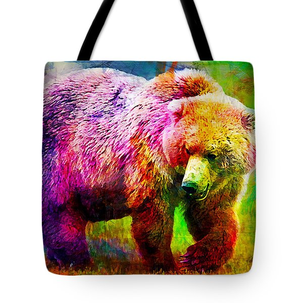 Bear Tote Bag by Elena Kosvincheva