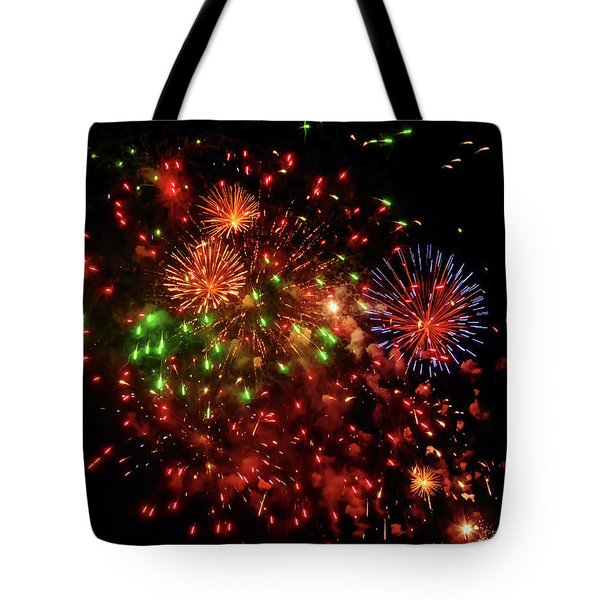 Beautiful Fireworks Against The Black Sky Of The New Year Tote Bag