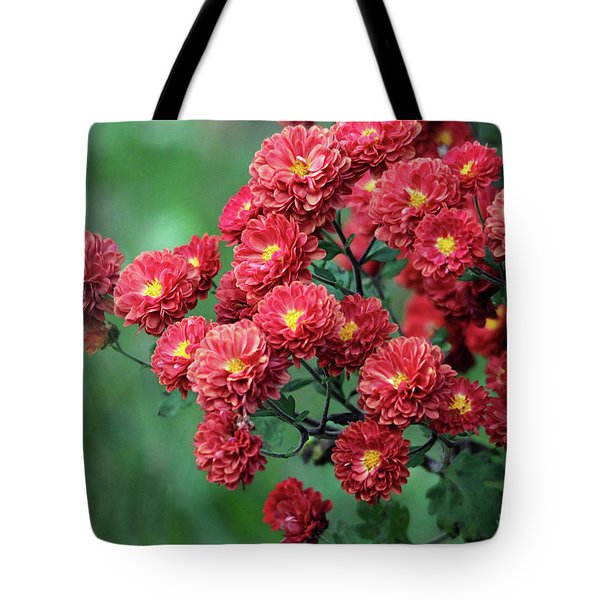 Beautiful Red Mums Tote Bag