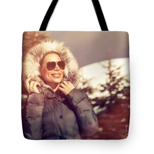 Beautiful Woman In Winter Park Tote Bag