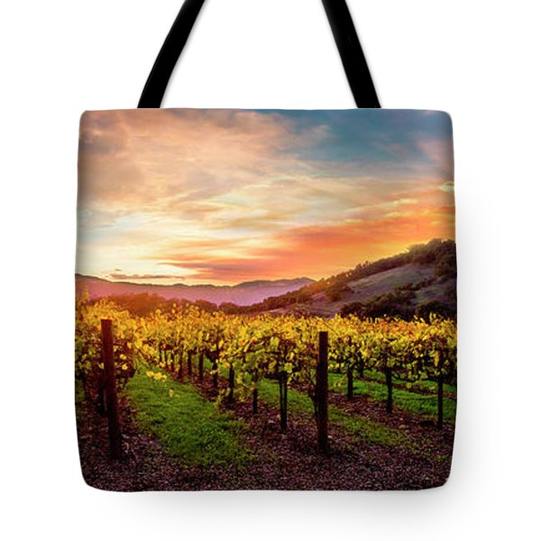 Morning Sun Over The Vineyard Tote Bag