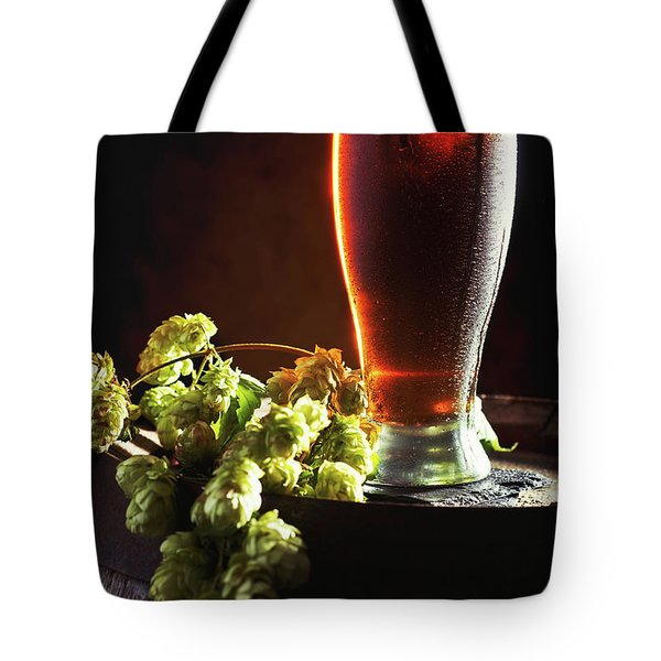 Beer And Hops On Barrel Tote Bag by Amanda Elwell