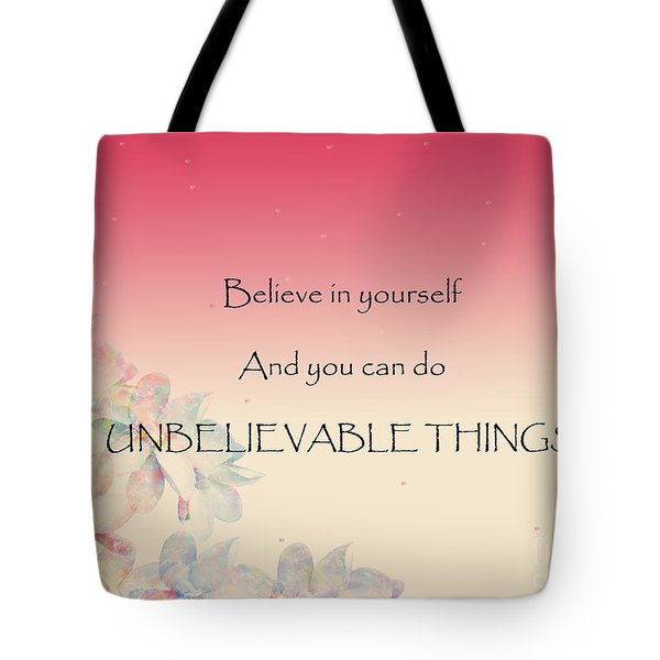 Tote Bag featuring the digital art Believe by Trilby Cole