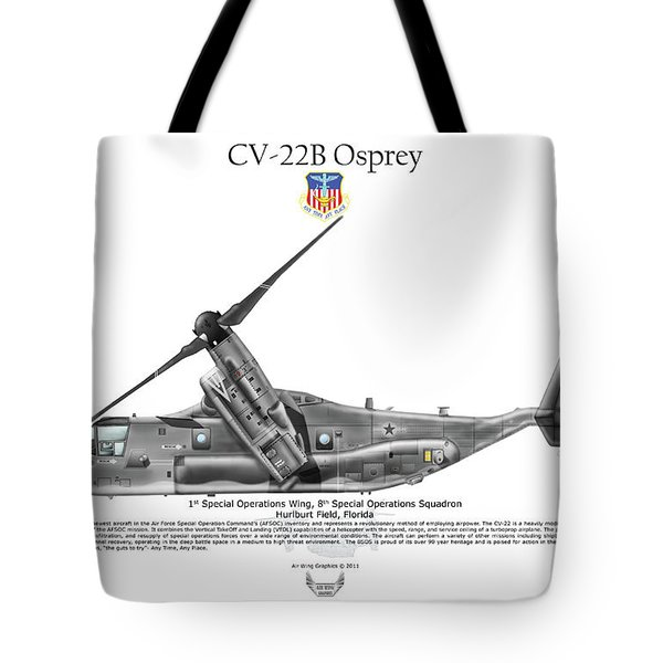 Tote Bag featuring the digital art Bell Boeing, Cv-22b, Osprey by Arthur Eggers