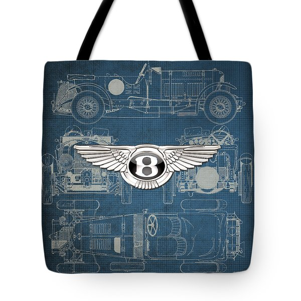 Bentley - 3 D Badge Over 1930 Bentley 4.5 Liter Blower Vintage Blueprint Tote Bag