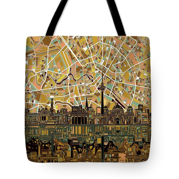 Berlin City Skyline Abstract Tote Bag by Bekim Art