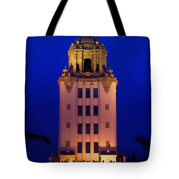 Beverly Hills City Hall Tower Tote Bag by Wernher Krutein
