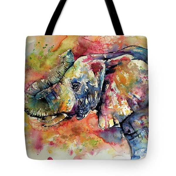 Big Colorful Elephant Tote Bag