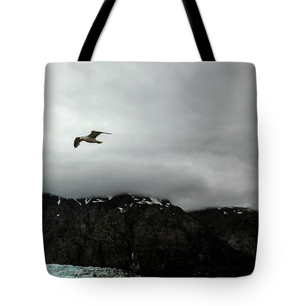Tote Bag featuring the photograph Bird Over Glacier - Alaska by Madeline Ellis
