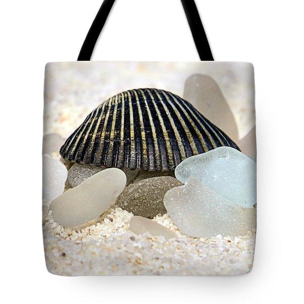 Black And White Sea Glass Tote Bag