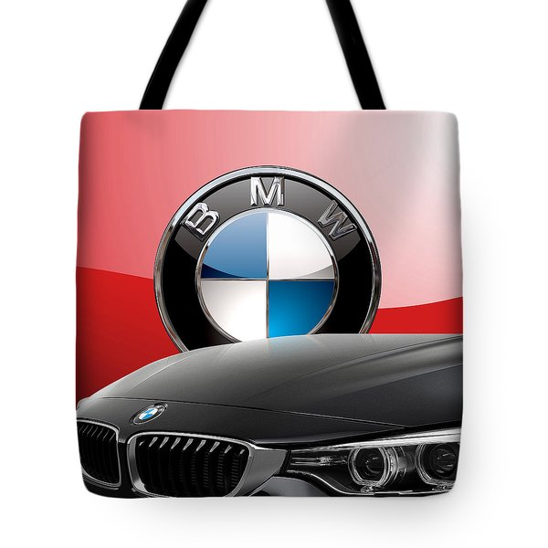 Black B M W - Front Grill Ornament And 3 D Badge On Red Tote Bag
